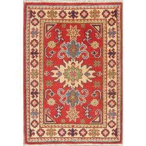"Overstock Traditional Kazak Oriental Area Rug Hand Knotted Wool Pakistani - 2'11"" X 2'1"" (2'11"" X 2'1"" - Red)"