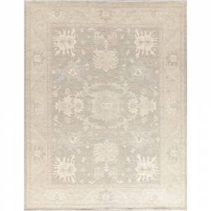"Overstock TURKISH Oushak Area Rug Hand-Knotted Wool Muted Vegetable Dye Carpet - 9'1"" x 11'10"" (9'1"" x 11'10"" - Grey)"