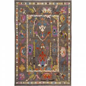 """Overstock Geometric Floral Vegetable Dye Oushak Turkish Area Rug Hand-Knotted - 9'11"""" x 13'10"""" (9'11"""" x 13'10"""" - Grey)"""