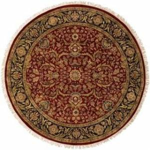 Overstock Hand-knotted Finial Red Wool Area Rug - 8' Round - 8' Round (8' Round - Red)