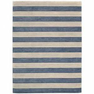 "Nourison RIP02 Area Rug (Contains Latex - Dark Blue - 5'6"" x 7'5"" - Indoor - Hand-Tufted - Stripe/Border - 0.51 - 0.75 inch - Casual - 6' x 9' -"
