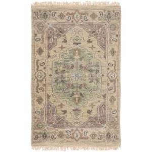 """Overstock Hand-Knotted Demi Border New Zealand Wool Area Rug - 3'9"""" x 5'9"""" (3'9"""" x 5'9"""" - Khaki)"""