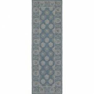 """Style Haven Maison Bordered Traditional Loop Pile Hand-made Wool Area Rug (Blue/Grey 2'6"""" x 8' Runner)"""