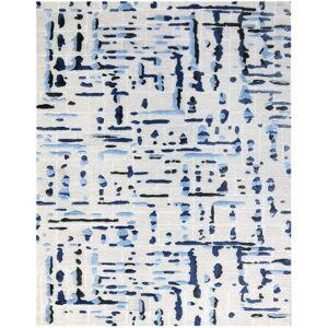 "Magi Drumlin Geometric Hand-Tufted Ivory/Blue Area Rug - 8'6""x11'6"" (8'6""x11'6"" - Ivory/Blue)"