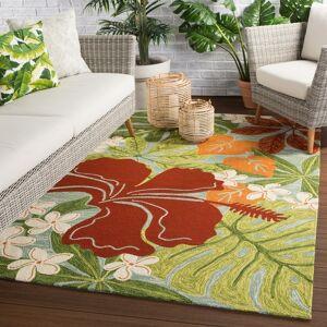 "Juniper Home Kahiwa Indoor/ Outdoor Floral Area Rug (7'6"" x 9'6"" - Multi/Blue)"
