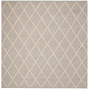 Safavieh Handmade Natura Qiong Wool/ Viscose Trellis Rug (6' x 6' Square - Grey)