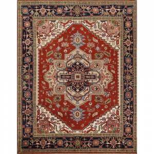 "Overstock Geometric Heriz Serapi Oriental Area Rug Handmade Dining Room  Carpet - 8'0"" x 9'9"" (8'0"" x 9'9"" - Rust)"