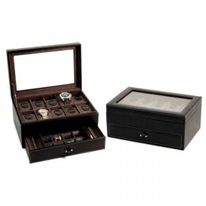Bey Berk 'Alex' Black Leather 10-Watch Case and Accessory Jewelry Box (Brown)