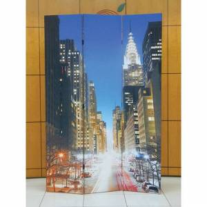 """Acme Truly New York 3-panel Wooden Downtown Scene Screen (Scenery design, (16""""x3)x71""""H)"""