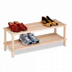 Honey Can Do 2-Tier Natural Wood Shoe Rack (natural)