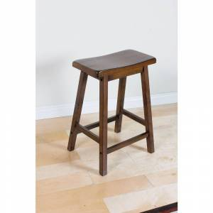 Acme Set of 2  Stool, Walnut Finish, 24-Inch (Set of 2 - Counter Height - 23-28 in.)