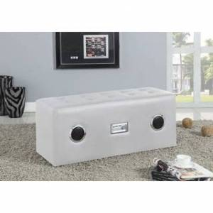 Acme Laila Sound Lounge Faux Leather Ottoman Bench with Bluetooth Speaker (White)