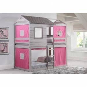 Donco Kids Loft-Style Light Grey Twin over Twin Bunk Bed (Twin over Twin - Pink Tent)