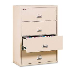 """FireKing Four-Drawer Lateral File Cabinet, 37-1/2w x 22-1/8d, Letter/Legal (Parchment - 38"""" wide)"""