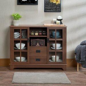 Acme Furniture Dubbs Brown MDF/Glass/Plastic Storage Console Table (Walnut Finish)