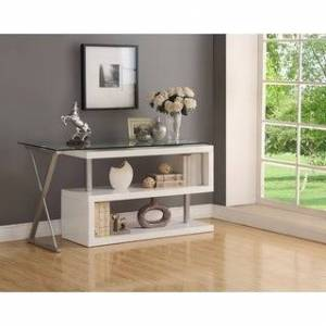 Acme Writing Desk with Swivel, Clear Glass & White (Clear/White)
