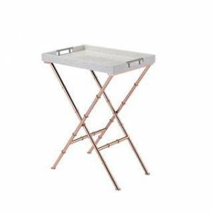 Acme Furniture Lajos Folding Tray Table (Off-White - Goldtone Finish)