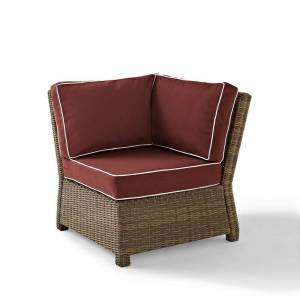 Crosley Furniture Bradenton Outdoor Wicker Sectional Corner Chair with Sangria Cushions (31.5 W x 31.5 D x 32.5 H - Sangria)