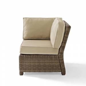 Crosley Furniture Bradenton Outdoor Wicker Sectional Corner Chair with Sand Cushions (31.5 W x 31.5 D x 32.5 H - Sand)