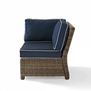 Crosley Furniture Bradenton Outdoor Wicker Sectional Corner Chair with Navy Cushions (31.5 W x 31.5 D x 32.5 H - Navy)