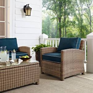 Crosley Furniture Bradenton Outdoor Wicker Arm Chair with Navy Cushions (brown)