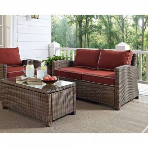 Crosley Furniture Bradenton Outdoor Wicker Loveseat with Sangria Cushions (brown)