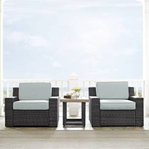 "Crosley Furniture Beaufort 3 pc Outdoor Wicker Seating Set with Mist Cushion - Loveseat, Chair, Coffee Table (69 ""W x 37 ""D x 31.5 ""H - Mist)"