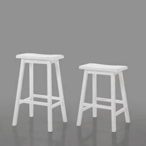 "Acme Bar Stool Set of 2, 29"", White (Set of 2 - Bar Height - 29-32 in.)"