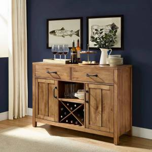 Crosley Furniture Roots Natural Finish Buffet (Drawers/Includes Hardware/Adjustable Shelving - Natural/Brown - Brown)