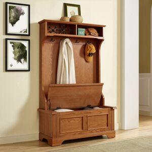 "Crosley Furniture Campbell Hall Tree in Oak Finish - 40 ""W x 18.5 ""D x 64.25 ""H (MDF/Wood - Veneer - Oak)"