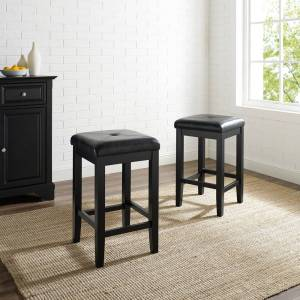 Crosley Furniture Upholstered Black 24-inch Square Seat Bar Stools (Set of 2) (Square Seat Bar Stool in Black Finish 24 Inch (2))