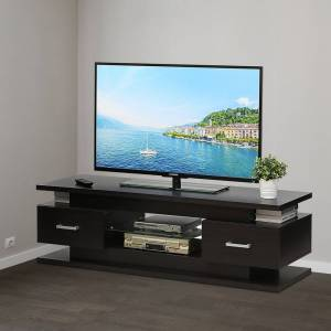 Furinno FVR Entertainment Center with 2 Drawers and Glass Shelf, Wenge FVR7231WG