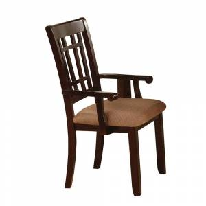 Benzara Central Park I Transitional Arm Chair, Dark Brown Finish, Set of 2 (Brown)