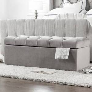 Taylor Arlo Tufted Storage Bench by Jennifer Taylor Home (Opal Grey/Velvet)