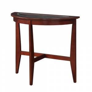 ACME Quedell Console Table in Espresso and Clear Glass