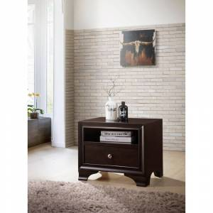 ACME Blaise Nightstand in Espresso with 1 Drawer and USB Port