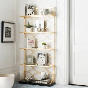 """Safavieh Spano 4-Tier Gold Etagere with Marble Base - 34"""" x 12"""" x 76"""" - 34"""" x 12"""" x 76"""" (FOX6299A)"""