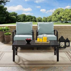 """Crosley kaplan 3 pc outdoor seating set with mist cushion - two outdoor chairs, coffee table (50""""W x 71.5""""D x 36""""H - Mist)"""