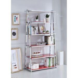 Benzara Metal Rectangular Bookshelf, Red High Gloss & Silver