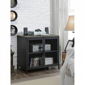 Benzara Rustic Style 31 Inches Metal TV Stand With Wire Mesh Doors Cabinet, Black