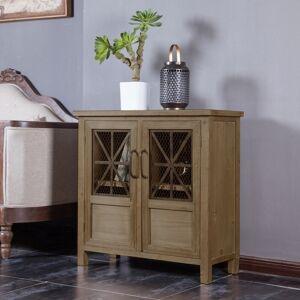 Overstock Double Door Dark Wood and Metal Cabinet (Wood/MDF)