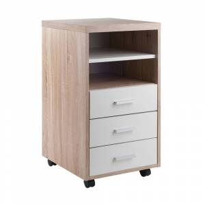 Winsome Kenner Mobile Storage Cabinet, 3 Drawers, 2 Shelves, Reclaimed Wood/White Finish (Assembly Required - Multi - Transitional)