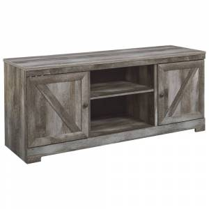 Signature Design by Ashley Wynnlow Casual Large TV Stand with Fireplace Option Gray (Grey - TV Stands - Antique - 42 - 60 Inches - Rustic)
