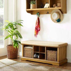 Crosley Furniture Brennan 2 Piece Entryway Bench And Shelf Set In Natural (Foam/Fabric - Natural - Veneer)
