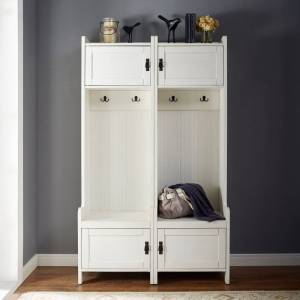 Crosley Furniture Fremont 2 Pc Entryway Kit - Two Towers in Distressed White