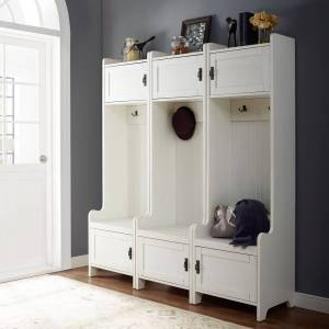 Crosley Furniture Fremont 3 Pc Entryway Kit - Three Towers in Distressed White
