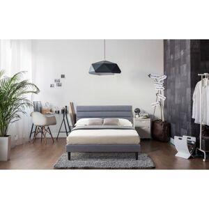 LuXeo Brisbane Upholstered Panel Platform Bed in Gray Fabric (Queen)