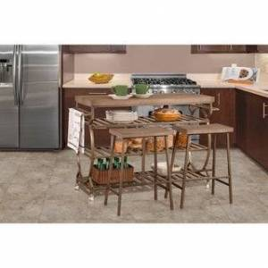 Hillsdale Furniture Paddock 3 Piece Kitchen Cart Set with 2 Kennon Stools - Assembly Required - Assembly Required (With Seating - Paddock Brown - Wood)