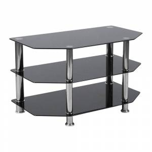 Offex Black Glass TV Stand with Stainless Steel Metal Frame
