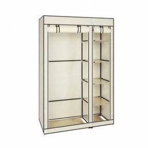 """Overstock 67"""" Portable Clothes Closet Non-woven Fabric Hanging Rod Wardrobe (Beige)"""